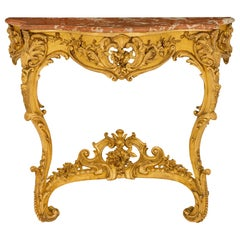French 19th Century Louis XV Style Giltwood and Marble Wall-Mounted Console