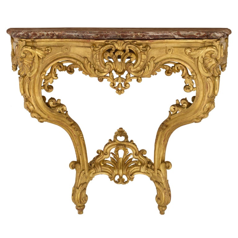 French 19th Century Louis XV Style Giltwood and Marble Wall Mounted Console For Sale
