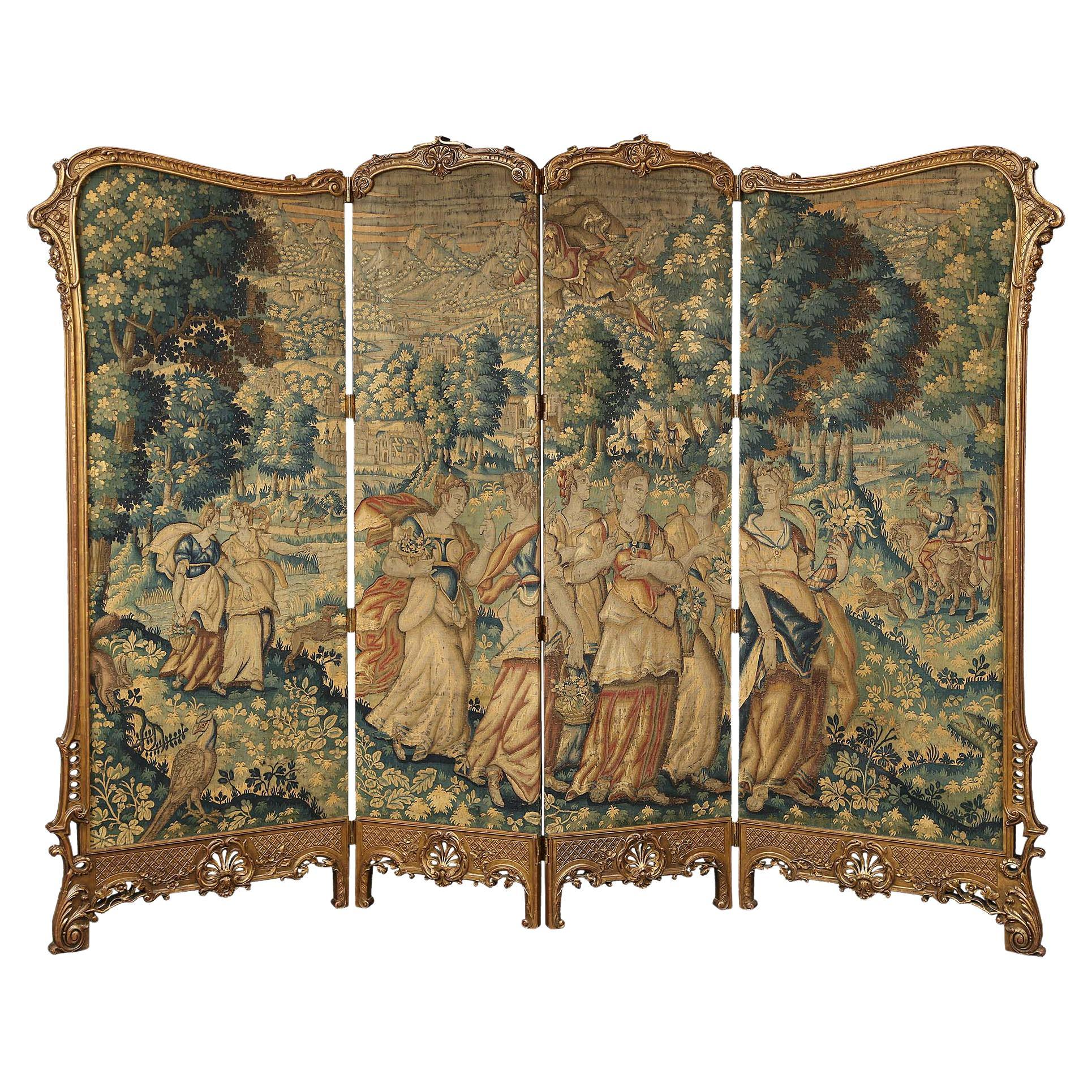 French 19th Century Louis XV Style Giltwood Four Paneled Screen