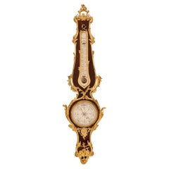 French 19th Century Louis XV Style Kingwood and Ormolu Barometer/Thermometer
