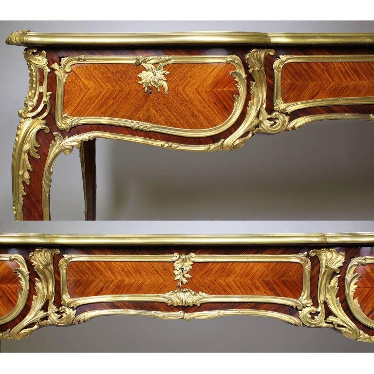 French 19th Century Louis XV Style Kingwood Gilt-Bronze Mounted Bureau Plat Desk For Sale 1