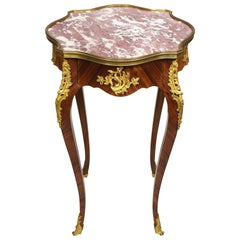 French 19th Century Louis XV Style Kingwood & Ormolu Mounted Side Table Gueridon