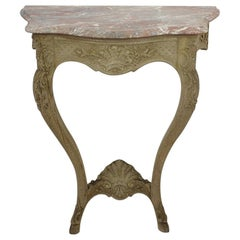 French 19th Century Louis XV style Marble-Top Oak Console Table