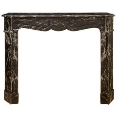 French 19th Century Louis XV Style Noir Antique Marble Fireplace Mantel