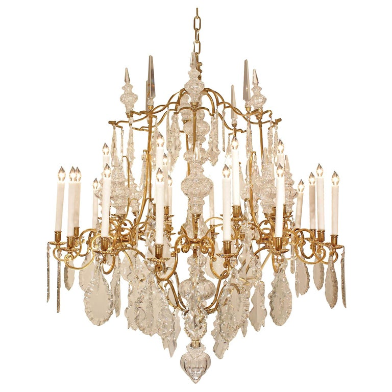 French 19th Century Louis XV Style Ormolu and Baccarat Crystal Chandelier For Sale