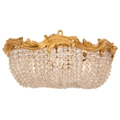 French 19th Century Louis XV Style Ormolu and Crystal Plafonnier Chandelier