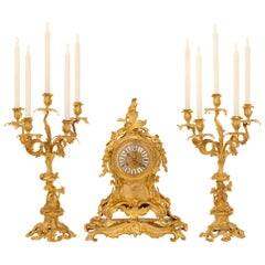 French 19th Century Louis XV Style Ormolu Signed Garniture Set