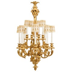 French 19th Century Louis XV Style Ormolu Twelve-Light Chandelier