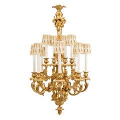 French 19th Century Louis XV Style Ormolu Twelve-Light Chandelier