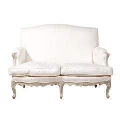 French 19th Century Louis XV Style Painted Wood Two-Seats Upholstered Canapé