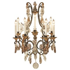 French 19th Century Louis XV Style Patinated and Gilt Wrought Iron Chandelier