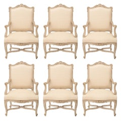French 19th Century Louis XV Style Patinated Armchairs