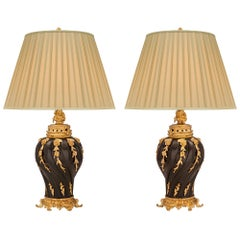 French 19th Century Louis XV Style Patinated Bronze and Ormolu Lamps