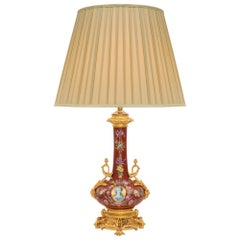 French 19th Century Louis XV Style Porcelain and Ormolu Lamp