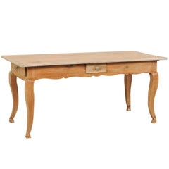 French 19th Century Louis XV Style Provincial Desk Table with Cabriole Legs