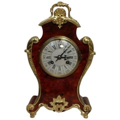 French 19th Century Louis XV Style Red Tortoise Shell Mantel Clock
