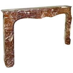 French 19th Century Louis XV Style Rosso Merlino Marble Mantel