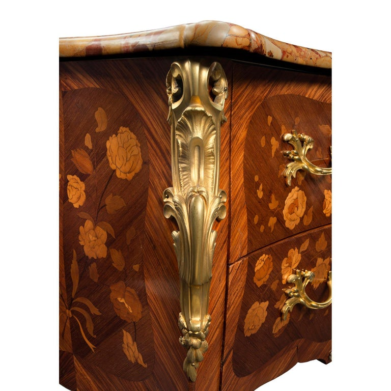 Ormolu French 19th Century Louis XV Style Tulipwood and Marble Top Commode For Sale