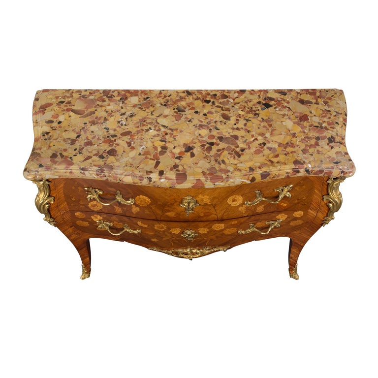 French 19th Century Louis XV Style Tulipwood and Marble Top Commode For Sale 2