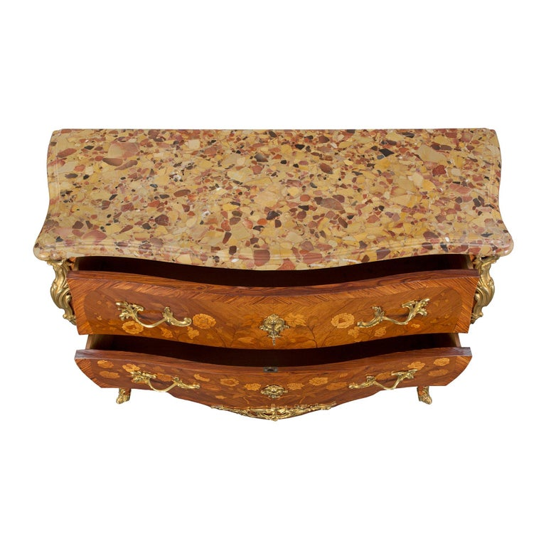 French 19th Century Louis XV Style Tulipwood and Marble Top Commode For Sale 3