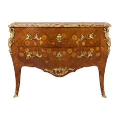 French 19th Century Louis XV Style Tulipwood and Marble Top Commode