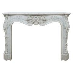 French 19th Century Louis XV Style White Carrara Marble Mantel