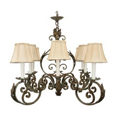 French 19th Century Louis XV Style Wrought Iron Chandelier