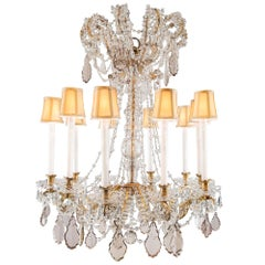 French 19th Century Louis XVI Baccarat Crystal and Gilt Metal Chandelier