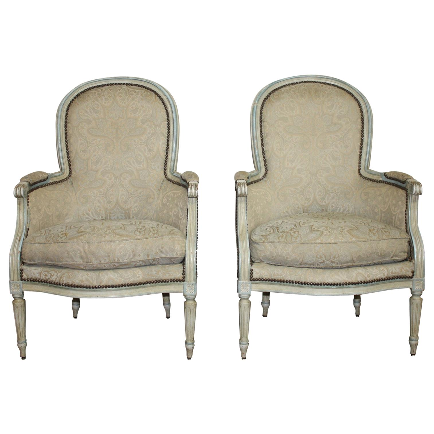 French 19th Century Louis XVI Bergère Chairs