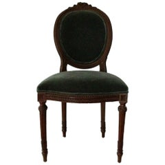French, 19th Century Louis XVI Chair Covered in Teal Mohair