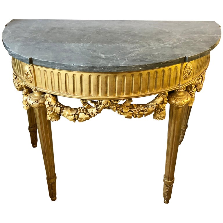 French 19th Century Louis XVI Console with Marble Top For Sale