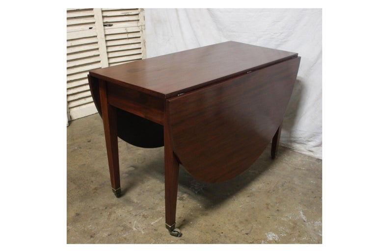 Mahogany French 19th Century Louis XVI Drop-Leaf Table For Sale