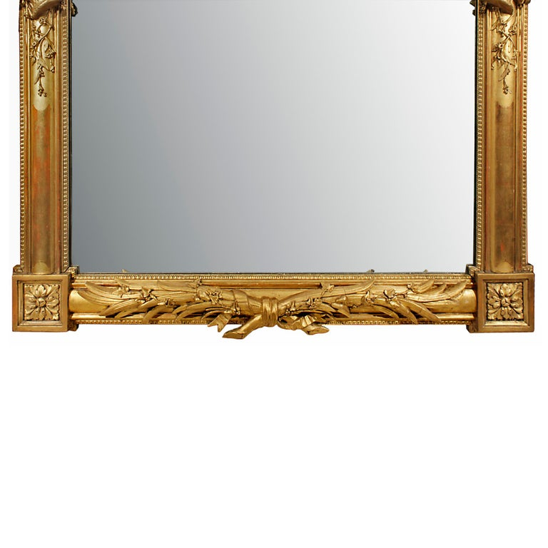 French 19th Century Louis XVI Giltwood Mirror For Sale 3