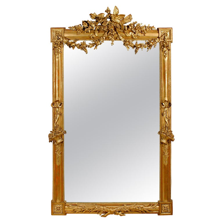 French 19th Century Louis XVI Giltwood Mirror For Sale