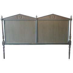 French 19th Century Louis XVI Hand Carved Hand Painted Extra Wide Bed Headboard