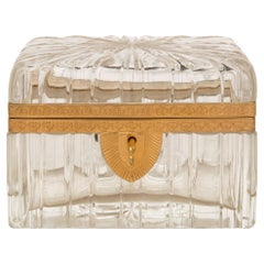 French 19th Century Louis XVI St. Baccarat Crystal and Ormolu Box