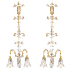 French 19th Century Louis XVI St. Baccarat Crystal and Ormolu Two Light Sconces