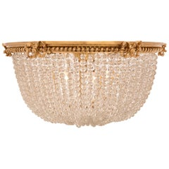 French Louis XVI Style Beaded Glass and Ormolu Plafonnier Chandelier