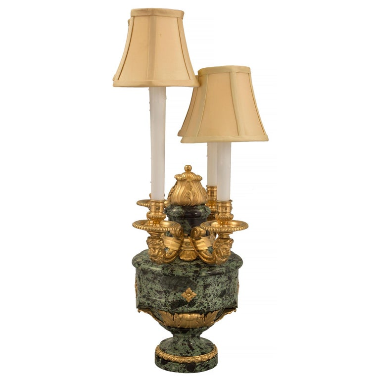 French 19th Century Louis XVI St. Belle Époque Period Marble and Ormolu Lamps In Good Condition For Sale In West Palm Beach, FL