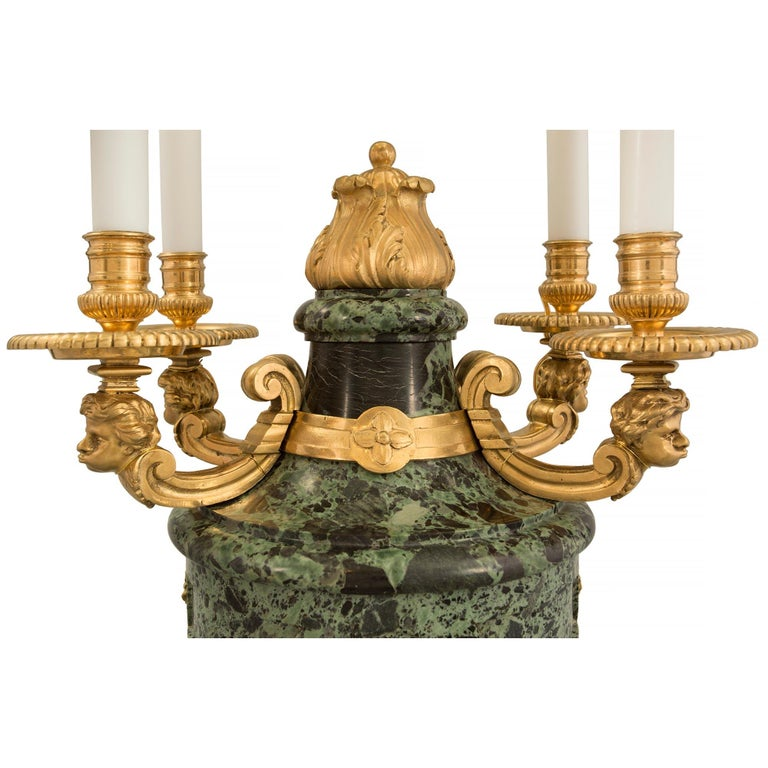 French 19th Century Louis XVI St. Belle Époque Period Marble and Ormolu Lamps For Sale 1