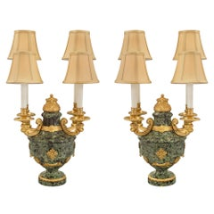 French 19th Century Louis XVI St. Belle Époque Period Marble and Ormolu Lamps