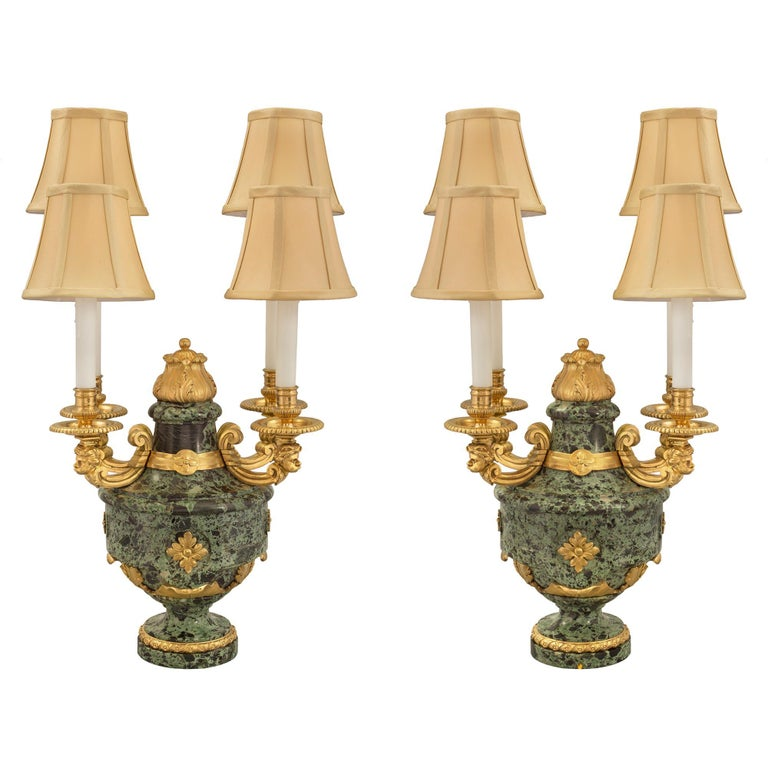 French 19th Century Louis XVI St. Belle Époque Period Marble and Ormolu Lamps For Sale
