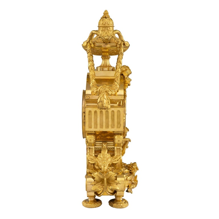 French 19th Century Louis XVI Style Belle Époque Period Ormolu Clock In Excellent Condition For Sale In West Palm Beach, FL
