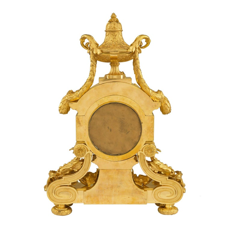 French 19th Century Louis XVI Style Belle Époque Period Ormolu Clock For Sale 1