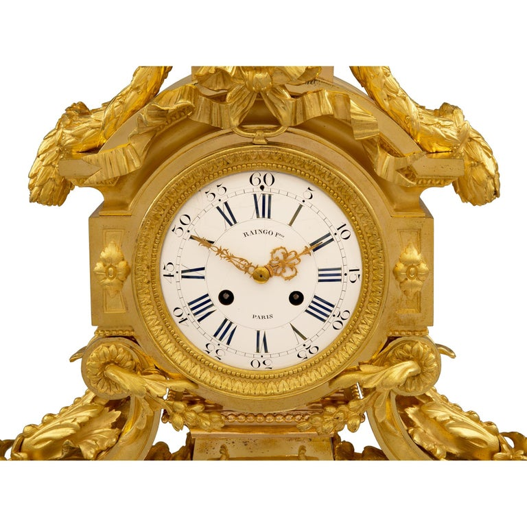 French 19th Century Louis XVI Style Belle Époque Period Ormolu Clock For Sale 3