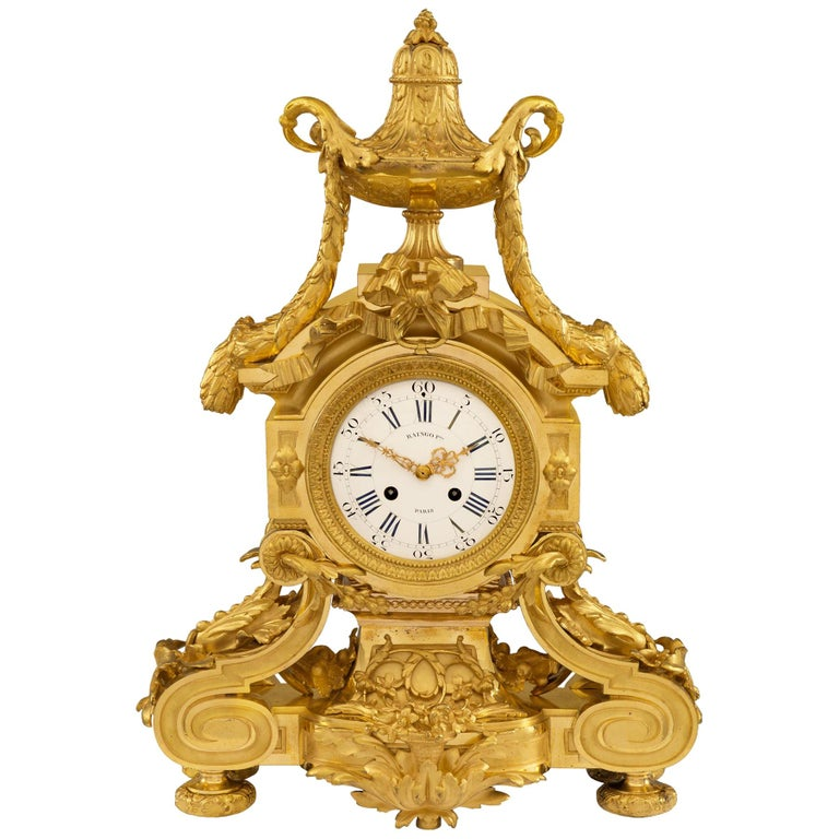 French 19th Century Louis XVI Style Belle Époque Period Ormolu Clock For Sale