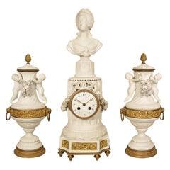 French 19th Century Louis XVI St. Biscuit De Sèvres Garniture Clock Set