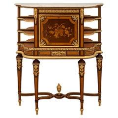 """French 19th Century Louis XVI St. """"Bonheur Du Jour"""" Desk, Signed Roux Et Cie"""