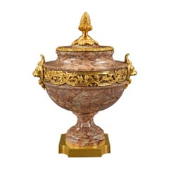 French 19th Century Louis XVI St. Breccia Corallina Marble and Ormolu Lidded Urn