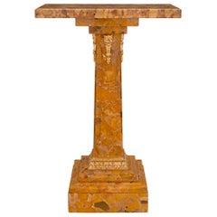 French 19th Century Louis XVI St. Brèche D'Alep Marble & Ormolu Pedestal Column